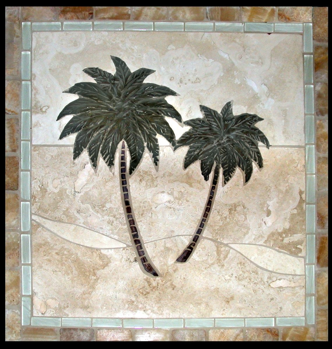 Hand Crafted Palm Tree Tile Murals By Makena Art Tile