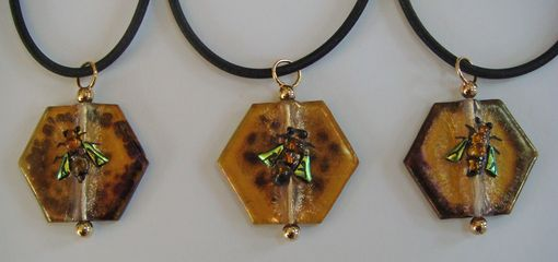 Custom Made Honeycomb & Bee Pendant Jewelry - Glass Fused
