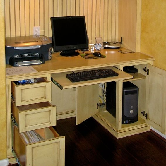 Creative Masculine Home Office With Dark Contemporary Custom Furniture And