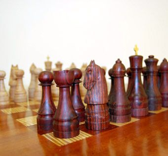 Hand crafted hand carved chess set figures by myrtle grove for Hand crafted chess set