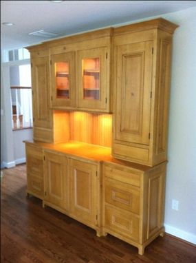 Custom Made Antique Pine Reproduction Hutch