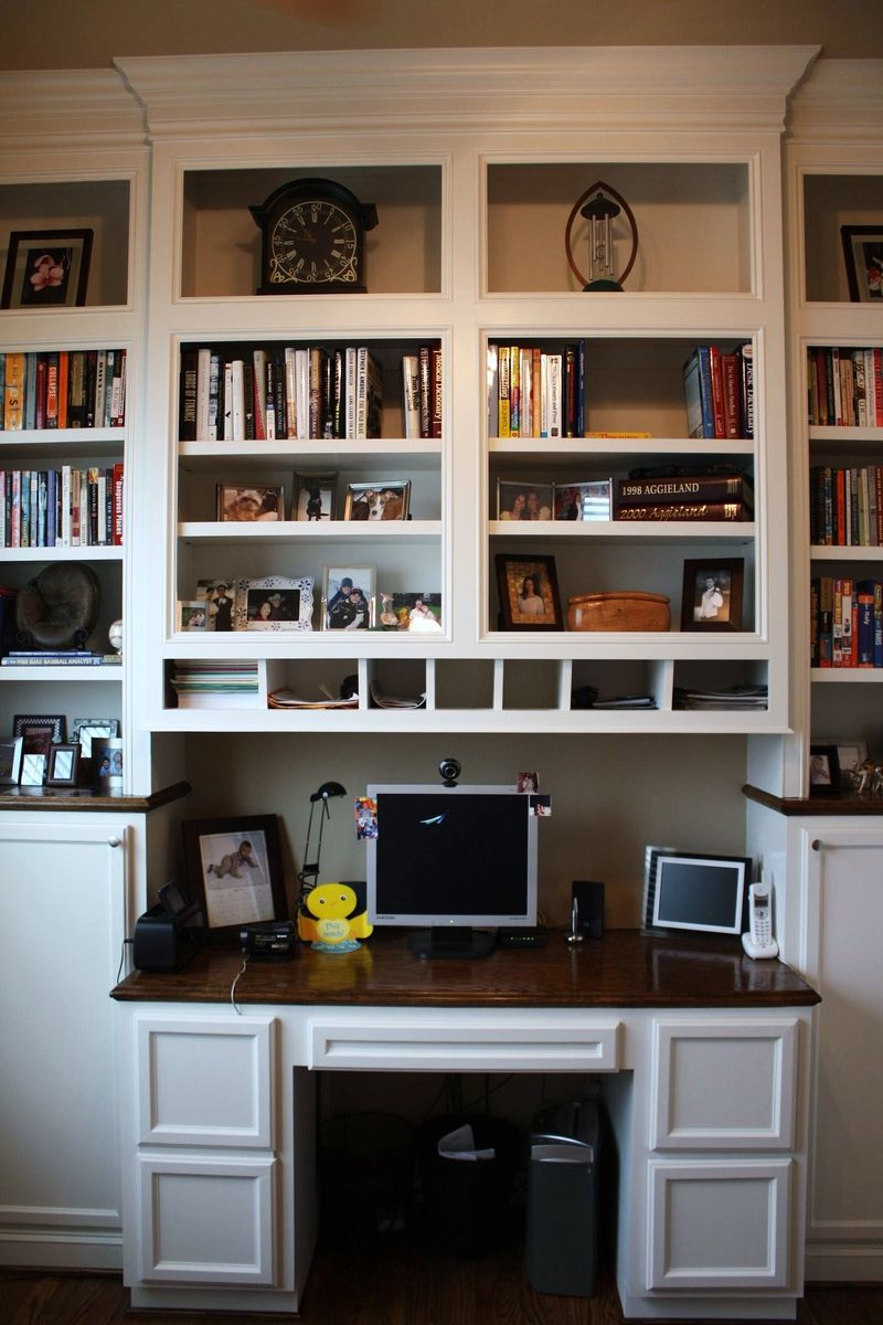 Custom made built in desk bookcases by custom cabinets Built in desk