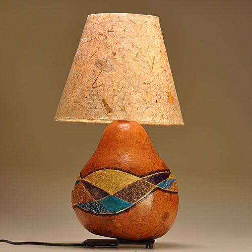 Custom Made Gourd Lamp Mixed Media Western Design By