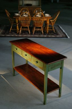 Custom Made Console Table With Shelf. Brown Cherry Top Lexington Green Legs