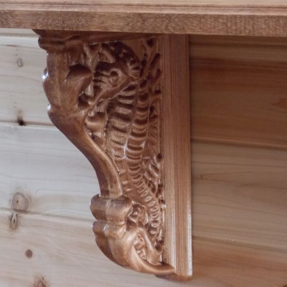 Hand crafted corbel seahorse shelf cherry wood rustic