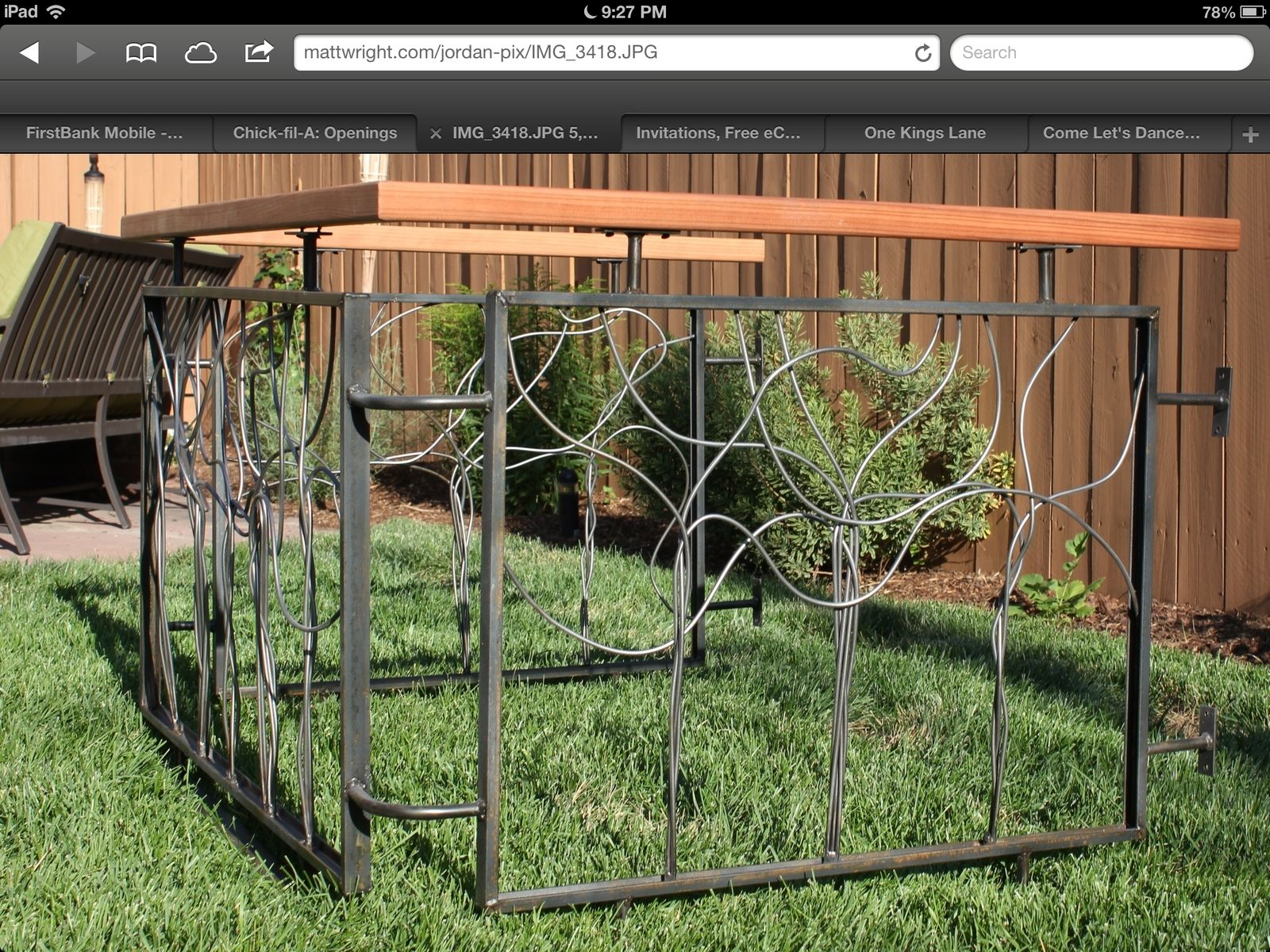 Hand Crafted Artistic Steel And Wood Fence By Edison