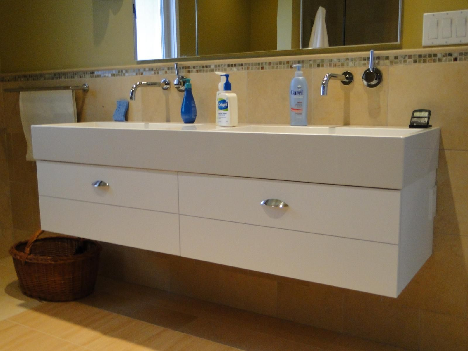 Hand Crafted Trough Sink Vanity By Case By Case Cabinets
