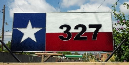 "Custom Made Stained Glass Transom Window - ""The Lone Star State"" / Texas Flag (Tw-28)"