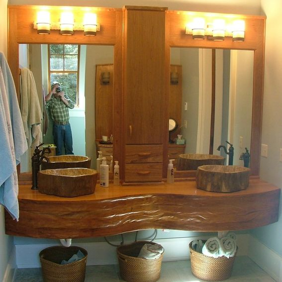 Hand crafted cabinetry cherry sink vanity mirror surround for Custom made mirrors for bathrooms