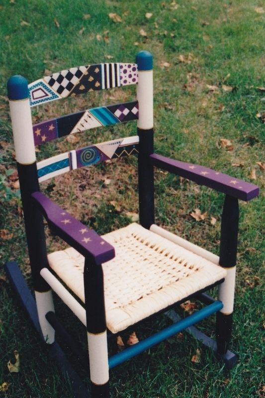 Handmade Children 39 S Chair Painted With Abtract Designs Trains Or Butterf