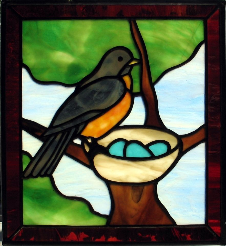 Hand Crafted Robin And Nest Window By Prairie Studio Glass