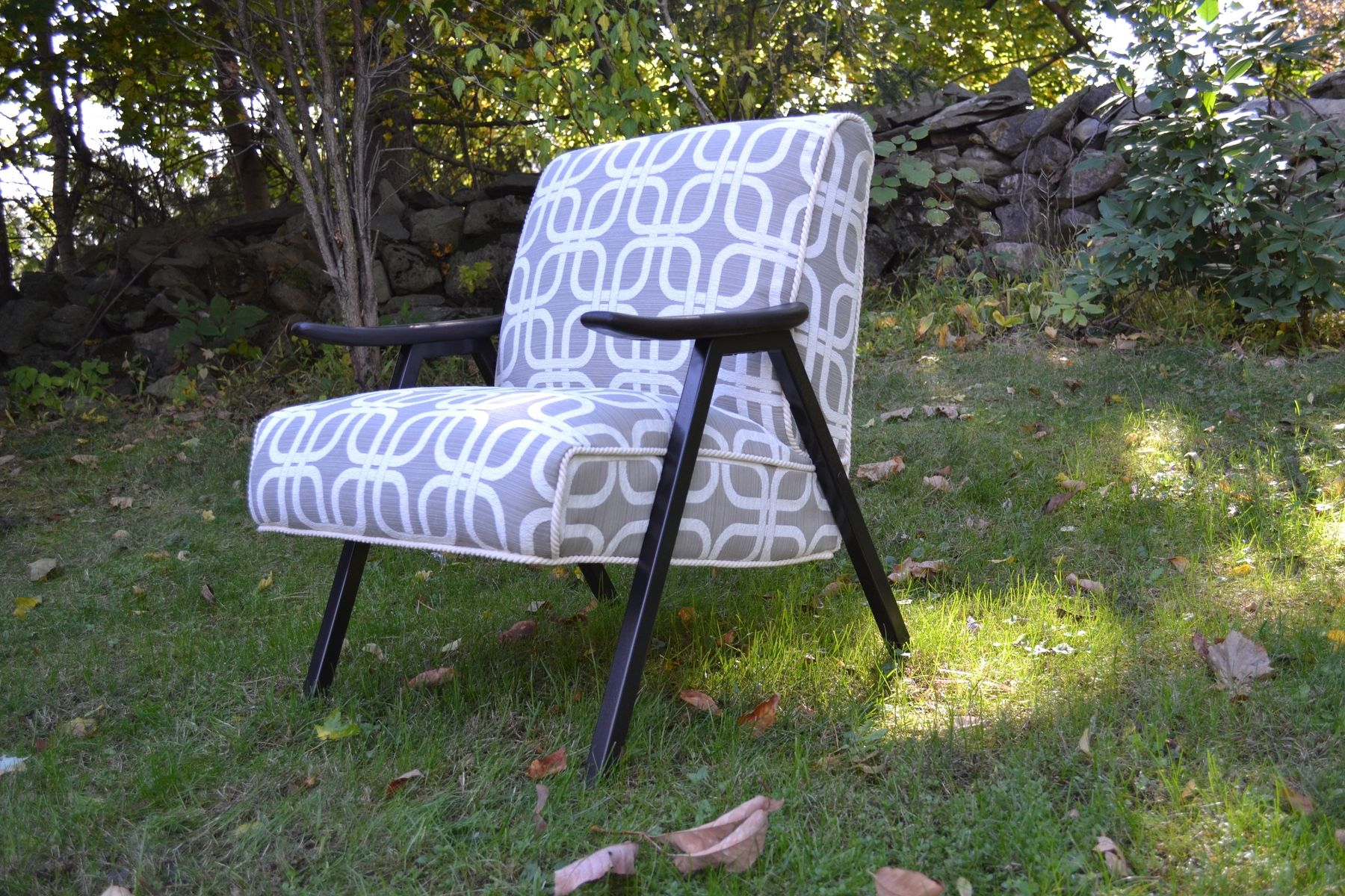 hand made vintage mid century modern accent chairs fully restored in beautiful grey upholstery. Black Bedroom Furniture Sets. Home Design Ideas