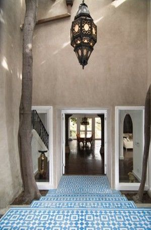 Custom fez blue and white cement tile entryway by for Blue and white cement tile