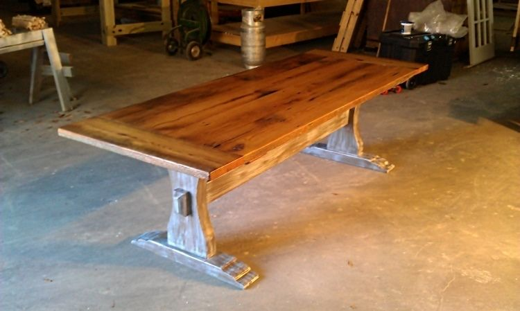 Hand Made Reclaimed Barn Wood Trestle Table By Ambassador