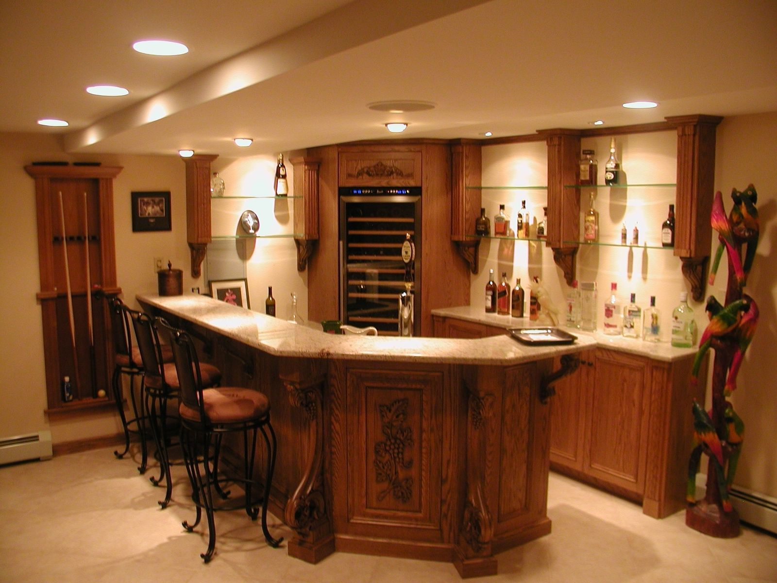Custom Oak Bar With Granite Top And Enkeboll Mouldings By