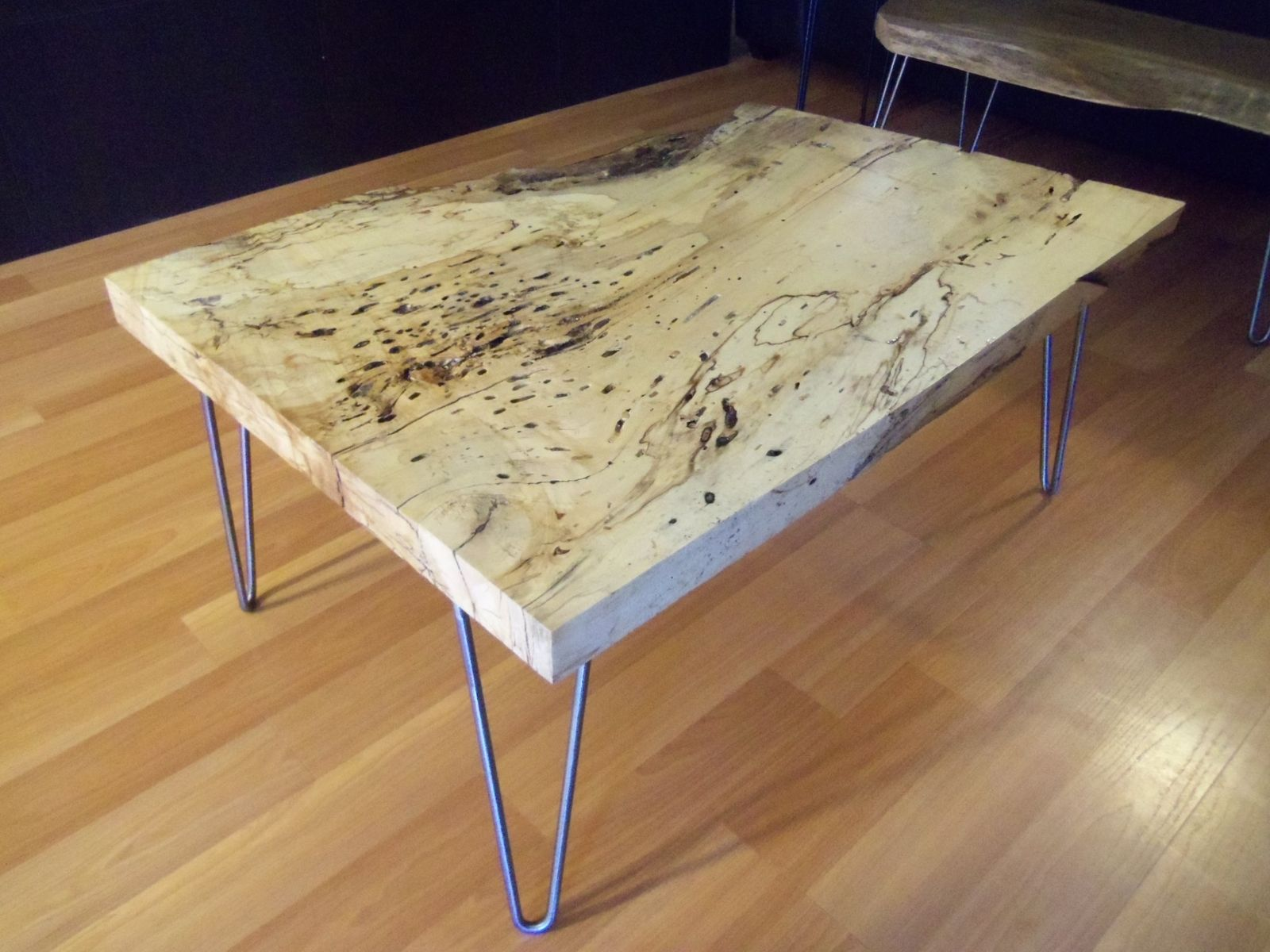 Hand Made Live Edge Spalted Maple Square Coffee Table By
