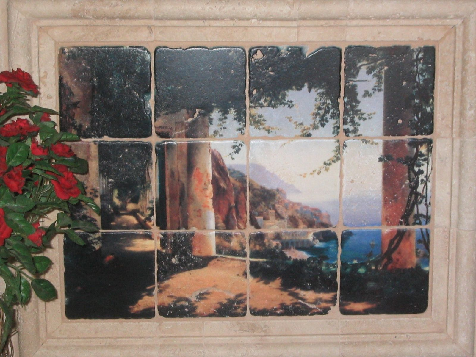 Custom made tumbled marble tile wall mural by flekman art for Custom photo tile mural