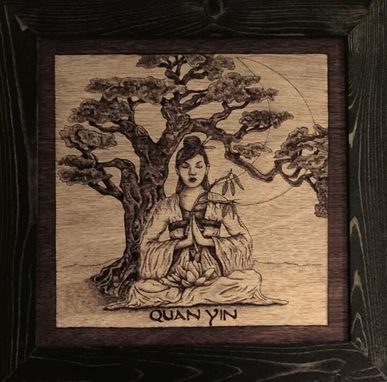 Custom Made Wood Burned 'Quan Yin' Wall Hanging