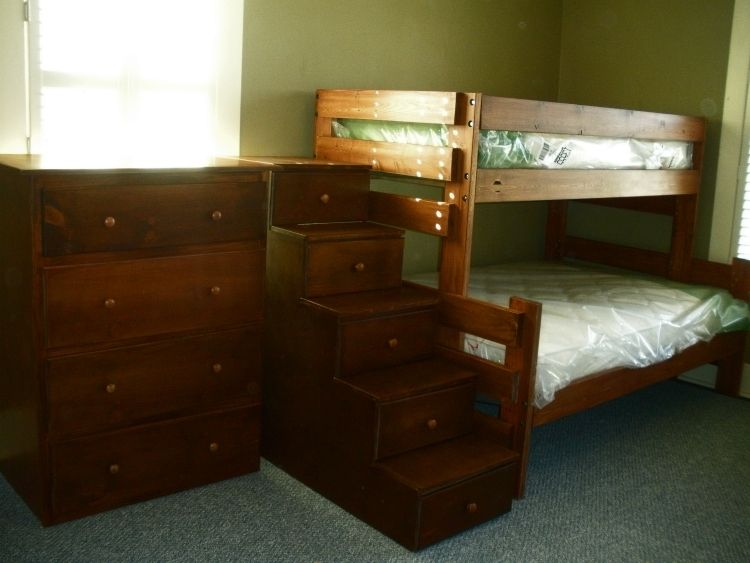 Hand Crafted Twin Over Queen Bunk Bed Suite With Staircase