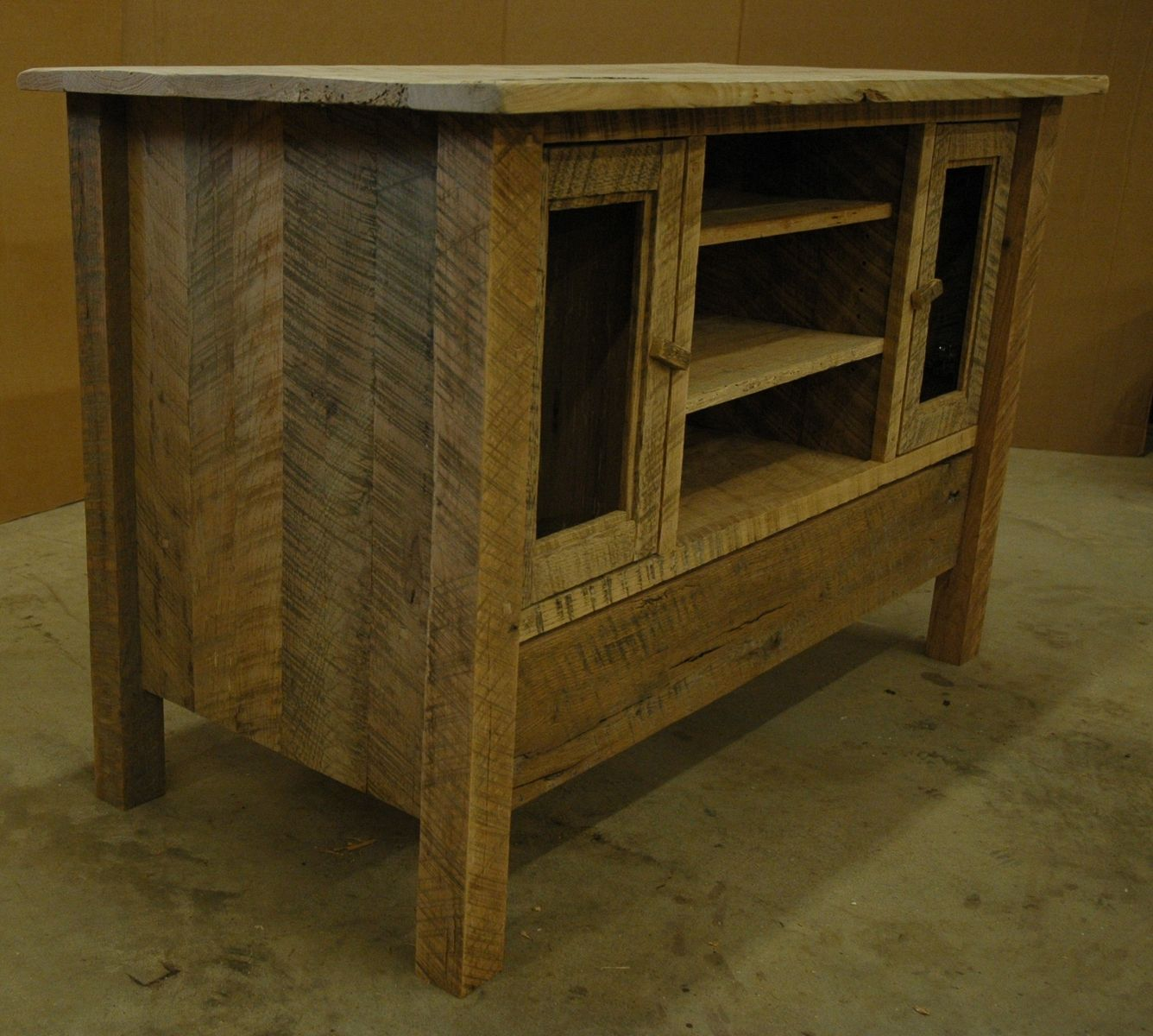 Hand Crafted Rustic Oak Entertainment Center by Custom