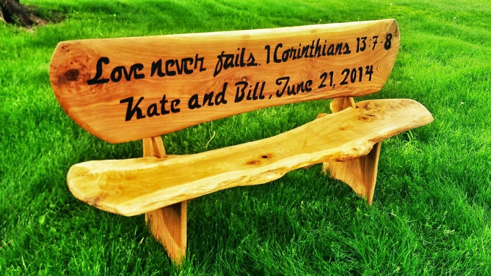 hand made 6 custom engraved wooden bench by covenant