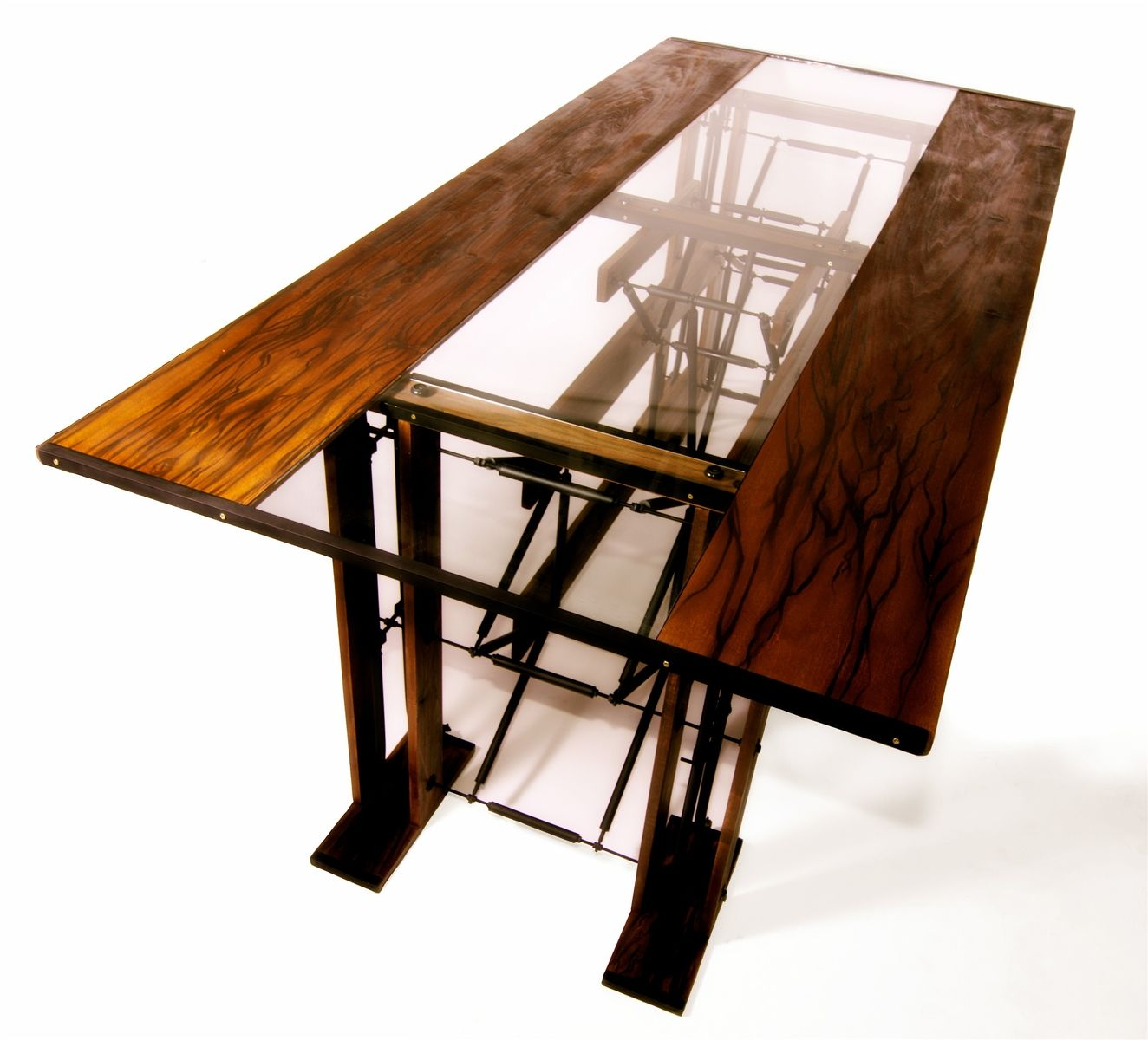 Hand made custom contemporary industrial eclectic dining for Wooden glass dining table designs
