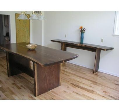 Custom Made Nakashima-Style Slab Dining Table And Sideboard In Natural-Edge Walnut