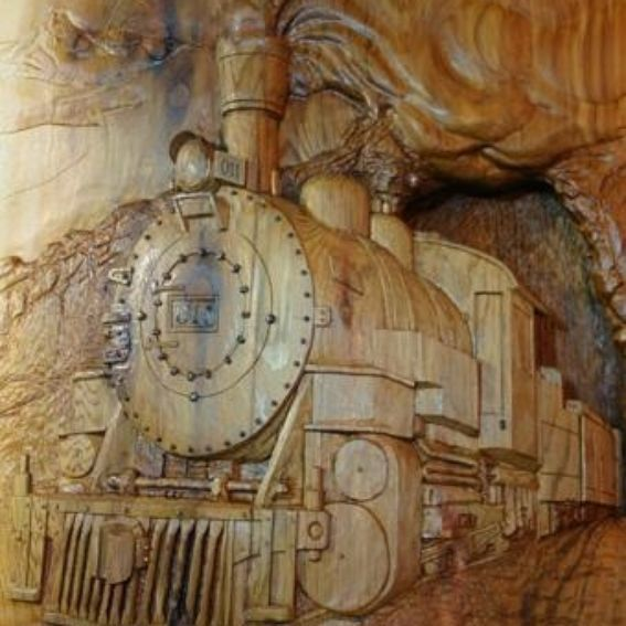 Hand made relief carving quot steam engine locomotive by mk