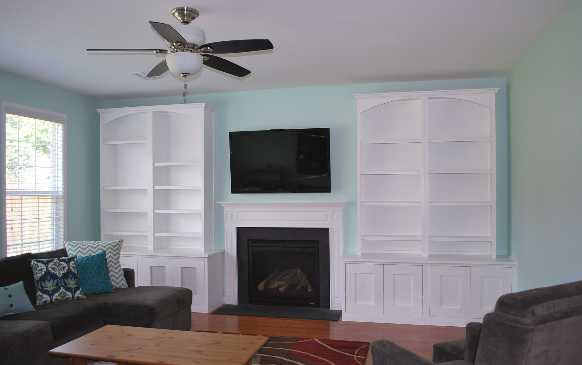 Hand crafted built in entertainment center by carolina for Built in entertainment center using kitchen cabinets