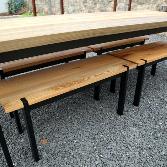 Hand Made Sinker Cypress Outdoor Table And Benches By Syd