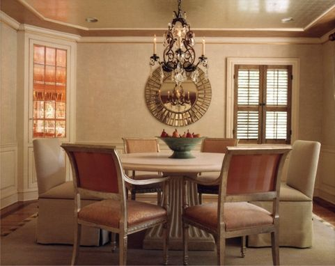 Custom Made Illuminated Corner Display Cabinets In A Dining Room In Greenwich, Ct