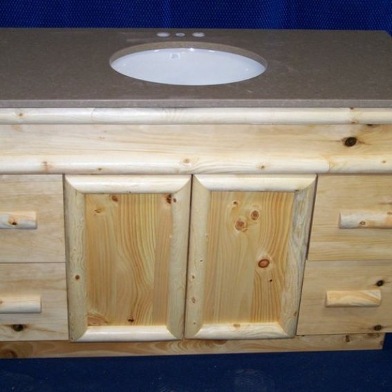 Knotty Pine Kitchen Cabinets For Sale: Handmade Knotty Pine Rustic Bathroom Vanity By Fbt Sawmill