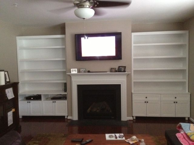 Hand Crafted Wall Unit With Fireplace Mantel By Natural