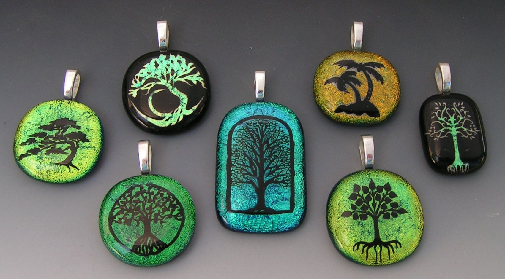 Hand Made Tree Designs Dichroic Fused Glass Pendants By