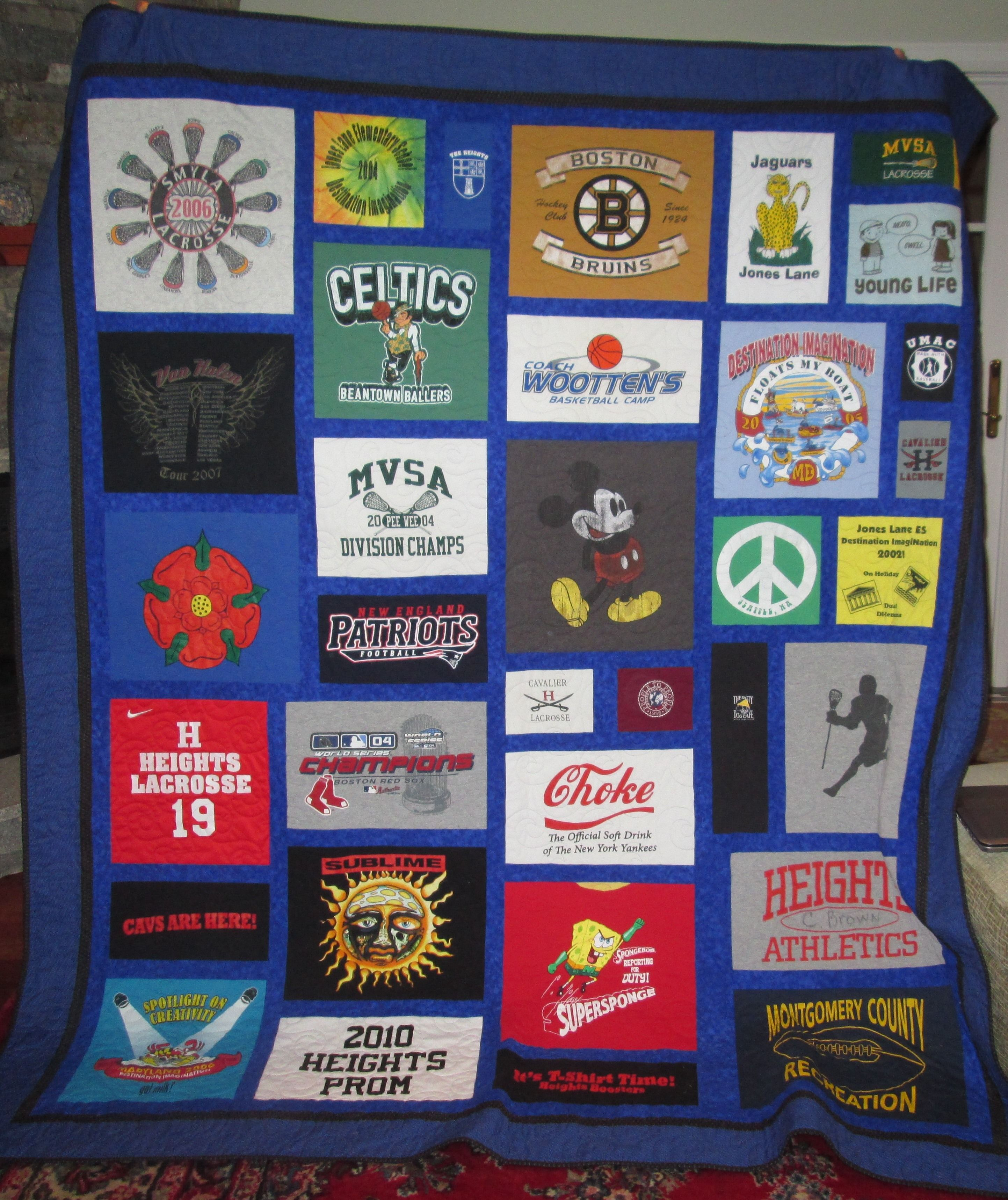 T Shirt Quilt Pattern Queen : Custom Queen Size T Shirt/ Memory Quilt by Stitches by Stiles CustomMade.com