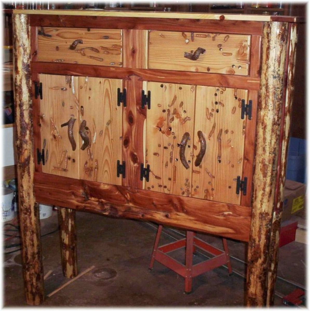 Hand Made Wormwood Buffet Cabinet By Jeffrey Coleson Art