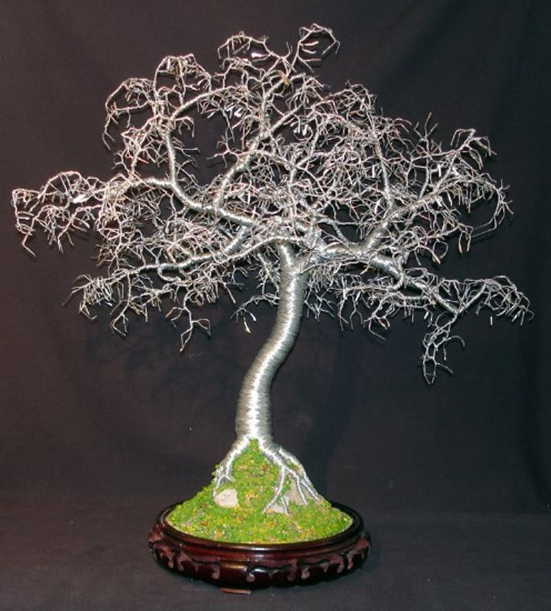 Hand Made Hammered Leaves Bonsai Wire Tree Sculpture By