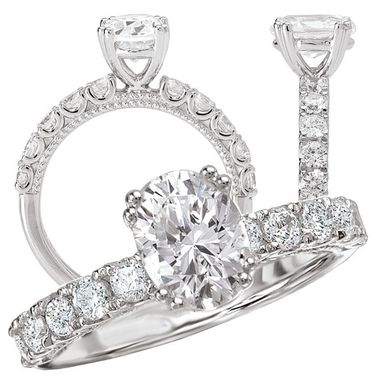 Custom Made *18k White Gold Diamond Engagement Ring Semi-Mount, Holds 7x5mm Oval Center Stone