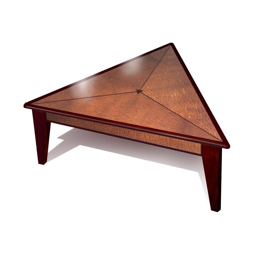 hand crafted triangle coffee table by mark love furniture. Black Bedroom Furniture Sets. Home Design Ideas