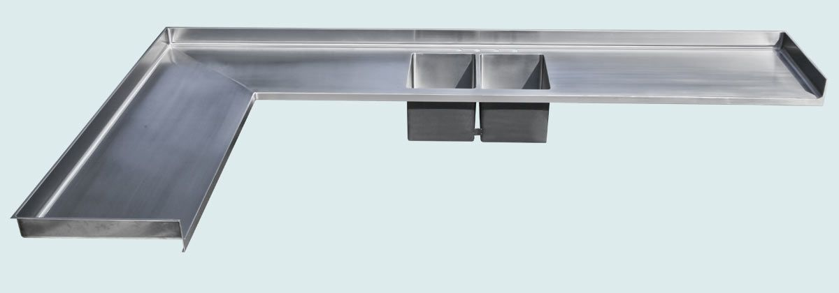 Handmade stainless countertop with integral double sink by for Stainless steel countertop with integral sink