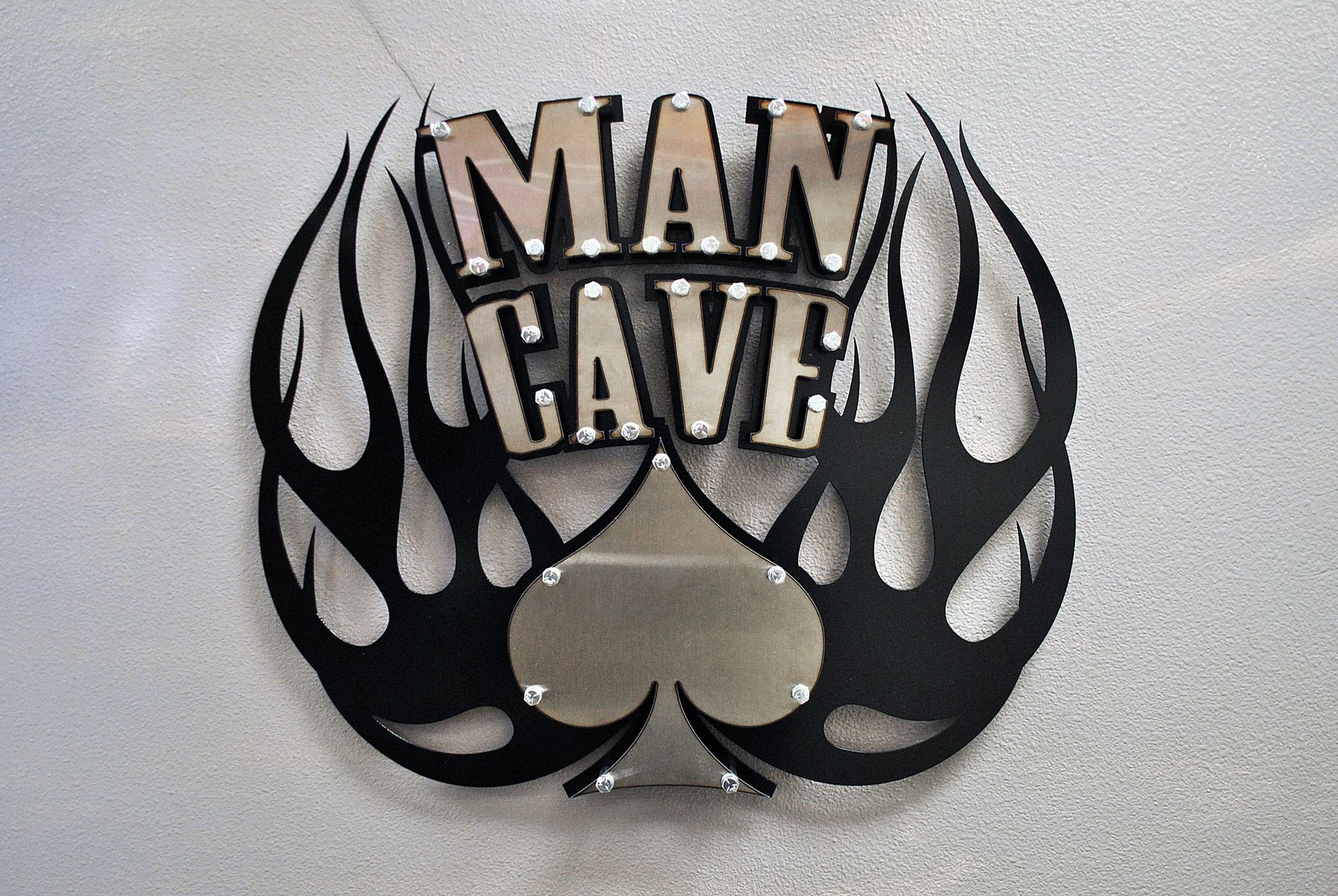 Homemade Man Cave Signs : Handmade spade man cave sign by real gear