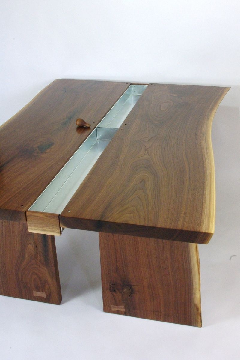 Custom Made Walnut Live Edge Slab Conference Table By