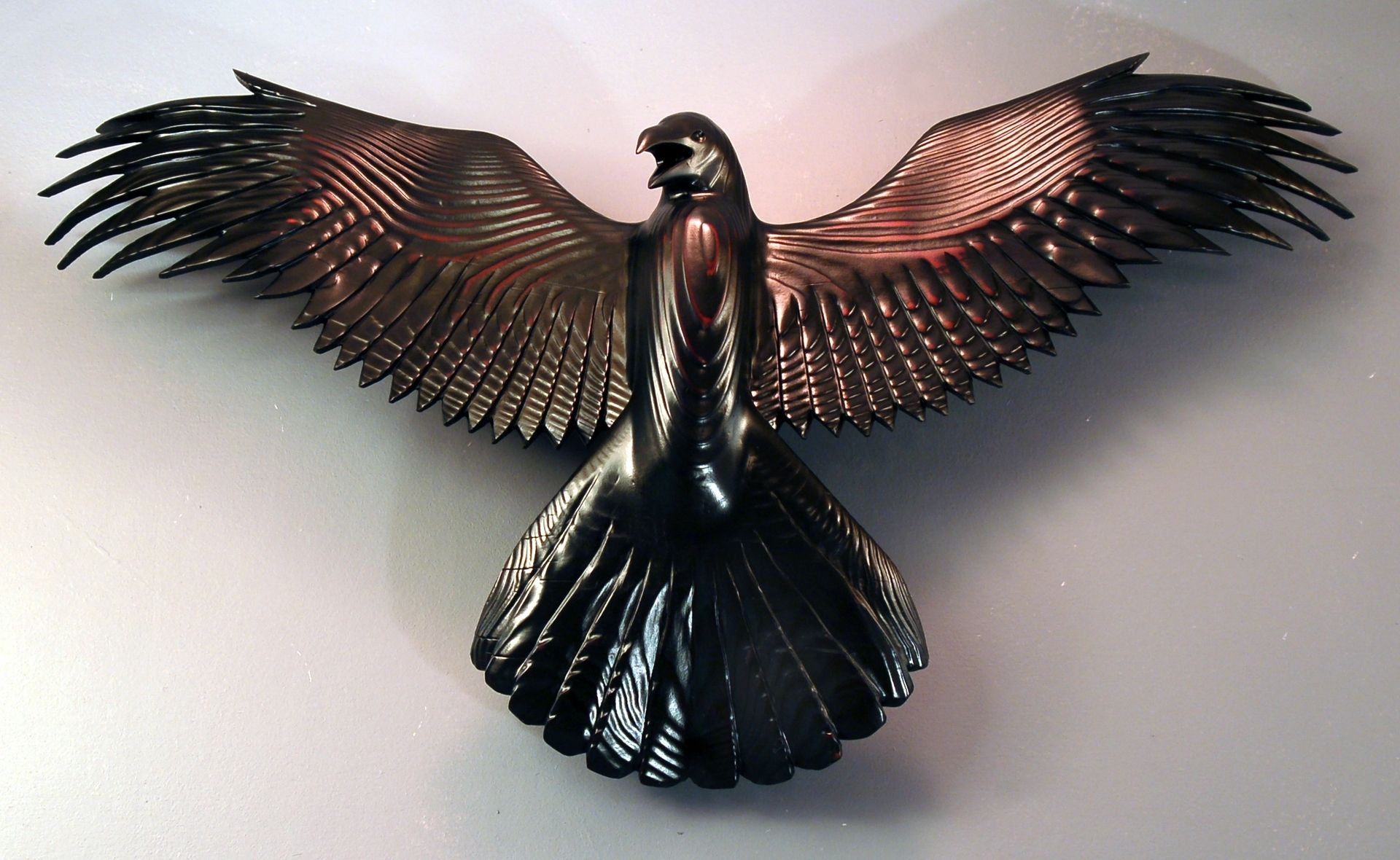 Handmade raven wood carving by jason tennant