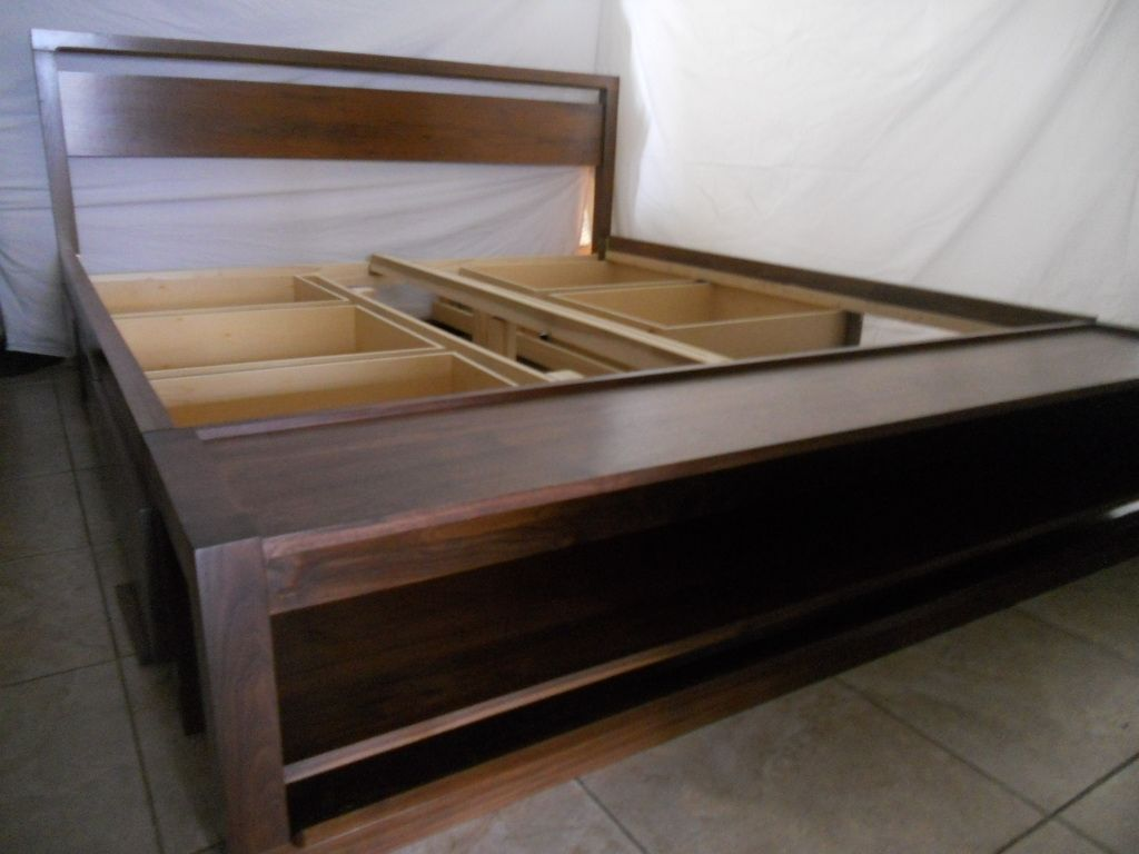 Handmade king size bed frame with storage and bench on foot board by woodcreations by clarissa King size bed bench