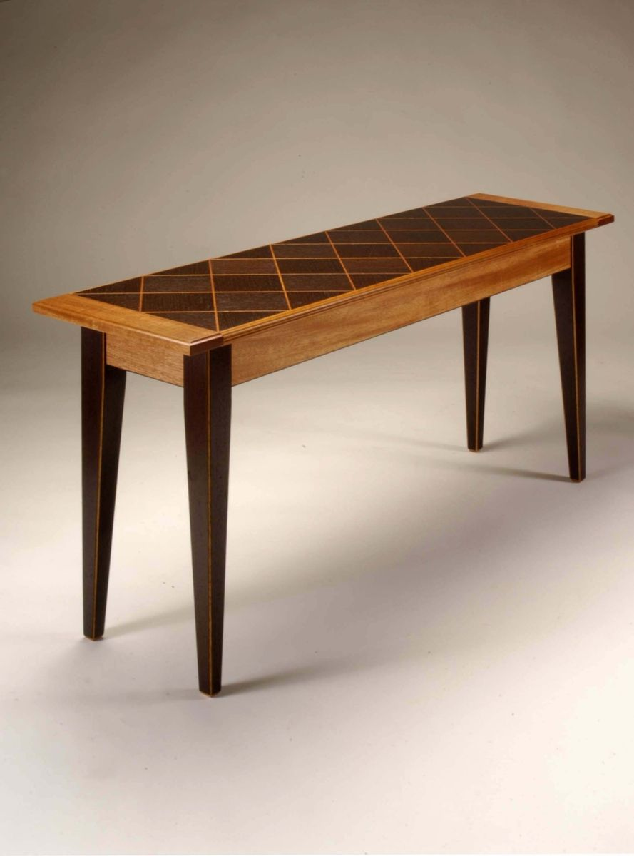 Hand crafted mahogany and wenge basket weave console table by neal barrett wo - Table console extensible wenge ...