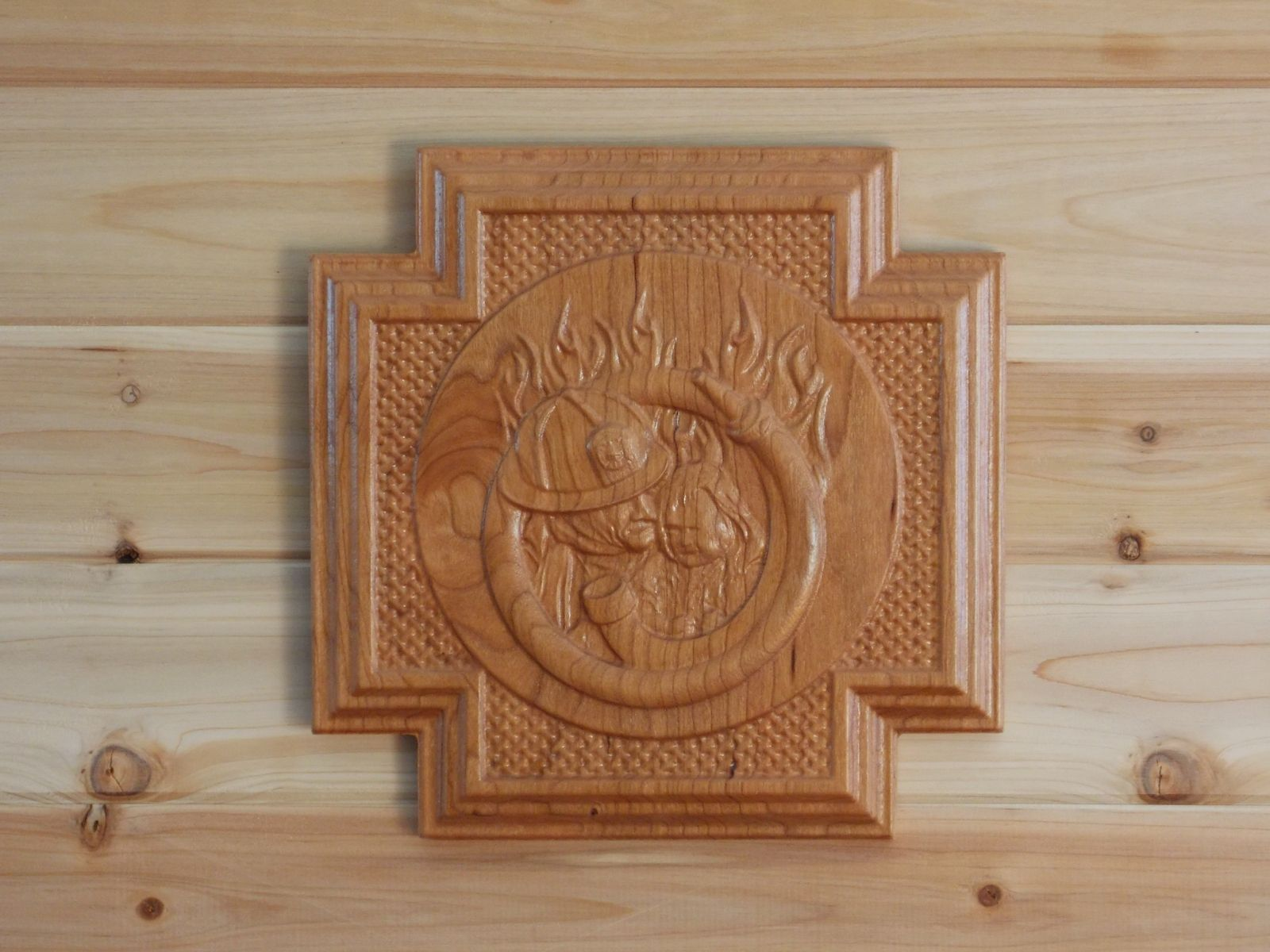 Hand crafted fireman gift wood wall hanging cherry