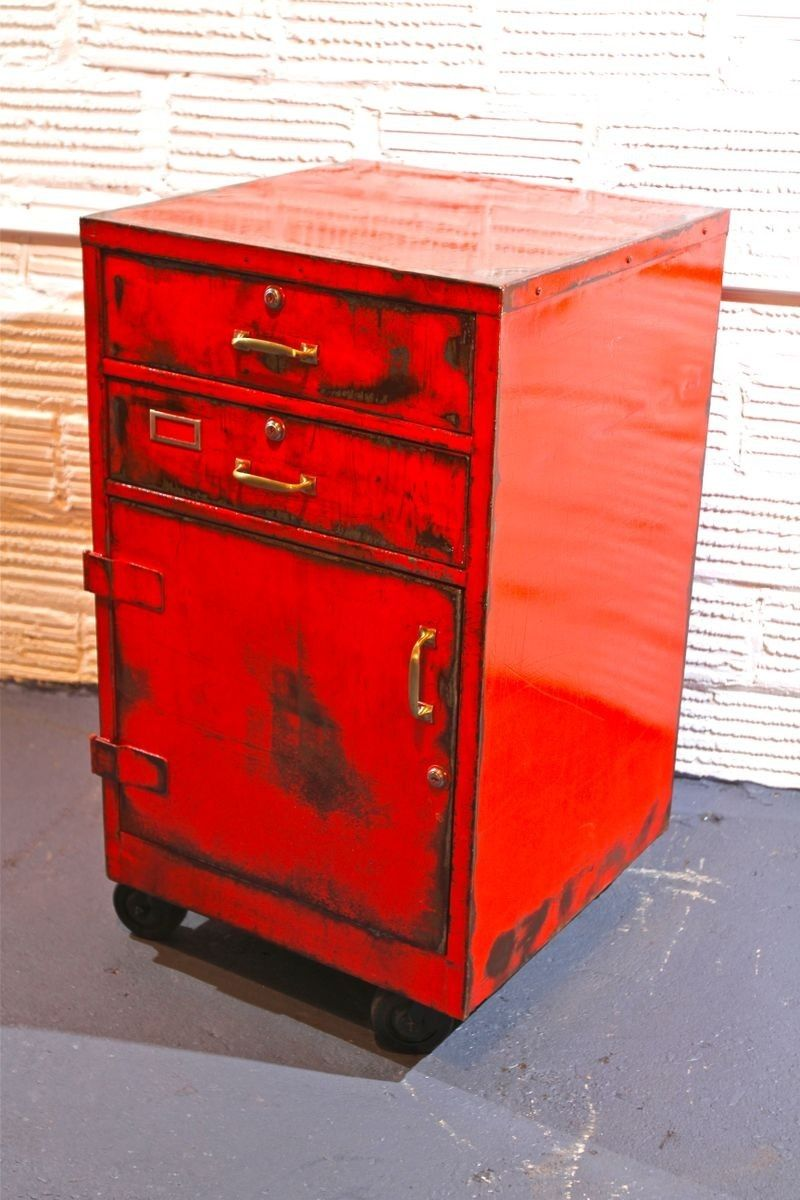 Firefighter Living Room Decor: Custom Rolling Fireman's Cabinet With Two Drawers And A