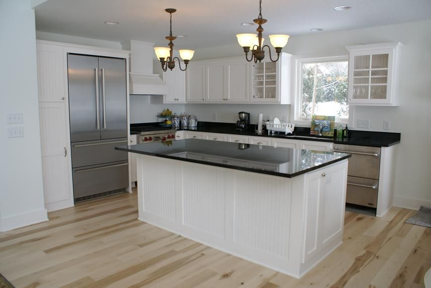 Custom painted bead board kitchen by bergstrom cabinets for Board and batten kitchen cabinets
