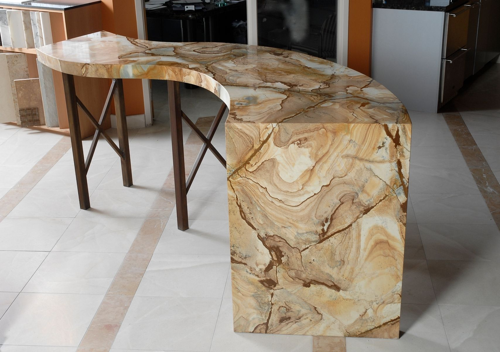 Custom Bar Display Table Natural Stone By Aggie Design