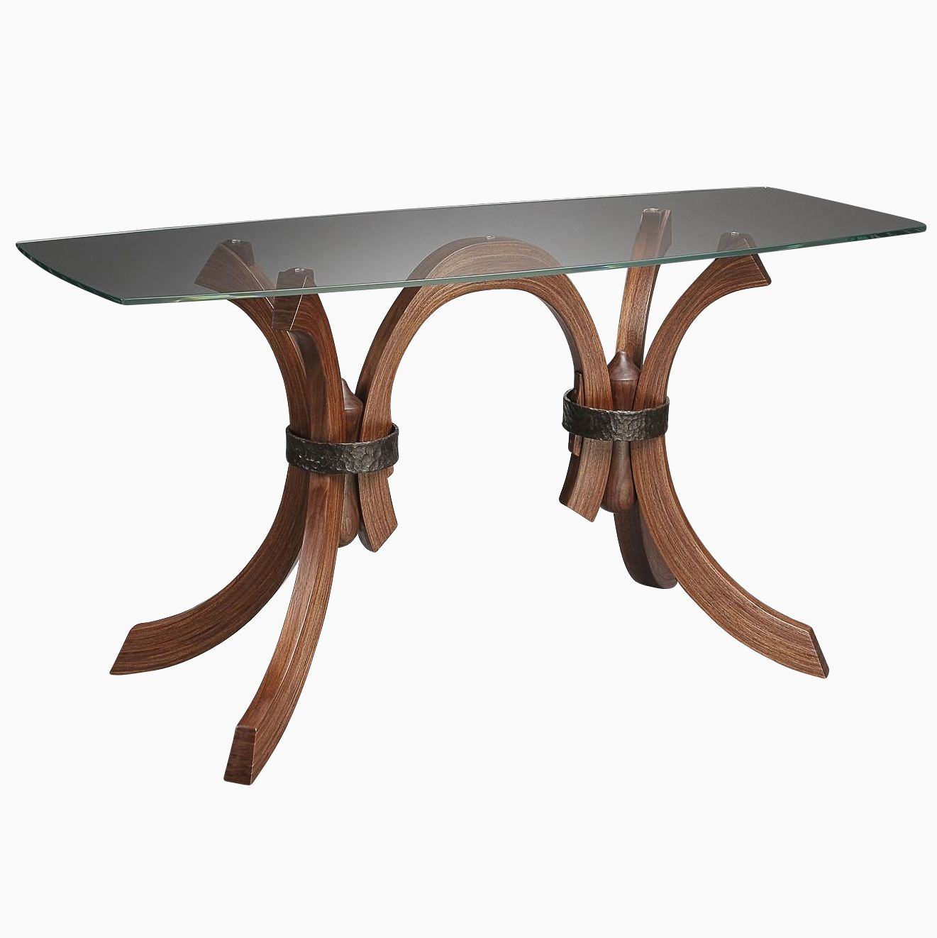 Hand made glass table with wood and forged iron legs by for Wood table iron legs